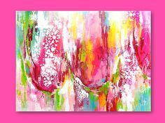 Abstract Tulips Painting - Pink, Red, Chartreuse, Teal - Original Fine Art - Contemporary Home Decor