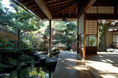 Love to have a place like this// Unique and antique traditional Japanese design house-backyard Liebe Japanese Home Design, Japanese Style House, Traditional Japanese House, Japanese Interior, Traditional Design, Japanese Homes, Japanese Gardens, Architecture Design, Japan Architecture Modern