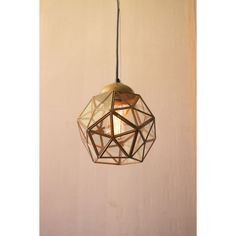 Antique Gold Small Glass And Metal Faceted Pendant Kalalou Stem Mini Pendant Lighting Ceil