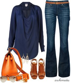 """""""Haute Hippie"""" by archimedes16 on Polyvore Navy is so chic! I love the orange statement bag! Don't you?"""