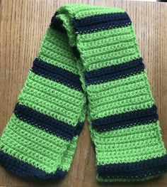 Handmade Crocheted Neck Scarf Bright Green and Navy Blue