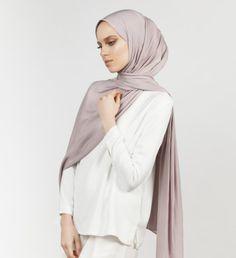 INAYAH | Silver Grey 2-Way Viscose Blend Hijab www.inayah.co