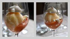 Sorbet á l'orange, coulis de fruits exotiques meringue au citron.