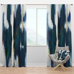 Rod Pocket Curtains, Drapes Curtains, Curtain Panels, Blue Curtains Living Room, Privacy Curtains, Blackout Curtains, Contemporary Curtains, Modern Curtains, Floral Room