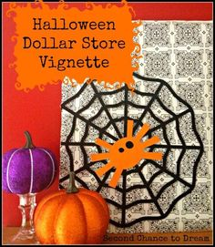 DIY Halloween : DIY Halloween Dollar Store Vignette DIY Halloween Decor check out www.FreetailTherapy.com for more Halloween ideas.