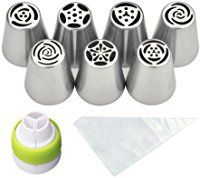 PALOTOP Russian Piping Tips 18-Pcs Set (7 Russian Tips 10 Disposable Pastry Bags 1 Tri-Color Coupler) Keep It Cleaner, Icing Tips, Frosting Recipes, Frosting Tips, Decorating Tools, Cake Decorating, Kitchen Gadgets, Kitchen Appliances, Kitchen Tools