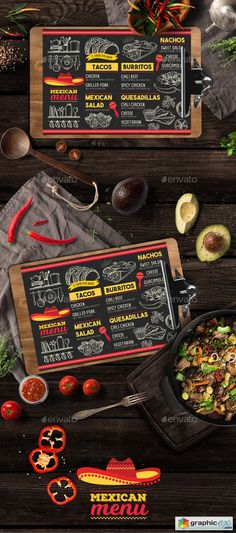 Mexican Food Menu by Marchiez Mexican food menu template. Creative mexican food menu template for your restaurant business with graphic food illustrations Menue Design, Food Menu Design, Food Truck Design, Food Menu Template, Restaurant Menu Template, Restaurant Recipes, Menu Templates, Taco Restaurant, Printable Menu