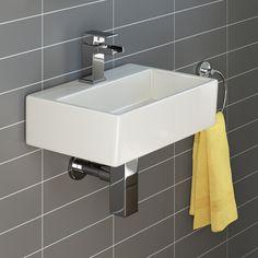 From Ibathuk Modern Square Ceramic Small Cloakroom Basin Wall Hung Bathroom Sink Small Cloakroom Basin, Small Bathroom Sinks, Small Sink, Small Toilet, Bathroom Basin, Modern Bathroom, Bathroom Ideas, Bathroom Stuff, Washroom
