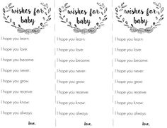 free wishes for baby printable