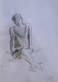 "Saatchi Art Artist Frederic Belaubre; Drawing, ""Seated Model 1"" #art"