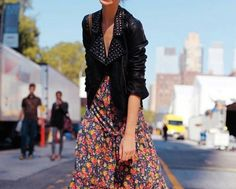 Floral prints + leather jackets.