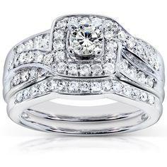 Annello 14k Gold 1ct TDW Diamond Bridal Rings Set