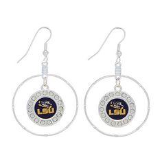 "$11.99 (less 10% thru 10/5/14, use promo code AUBVSLSU) 2"" Circle LSU Earrings. Get them now at www.amazon.com/shops/JandDJewelryandmore"