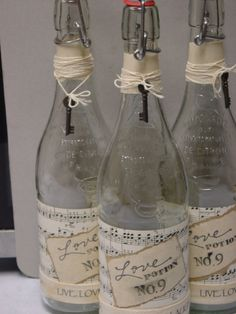 altered bottles  --cute for Valentine's Day