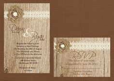 Rustic Wedding Invitation Lace Wedding by DawnMarieCreations82