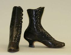 Boots ca. 1883, French (leather) label woven in lining reads: Au Gamine de Paris, 11 Rue du 4 Septembre 11