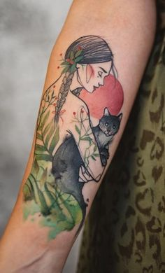 Awesome Green Girl Tattoo