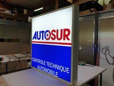 Enseignes lumineuses pour Autosur Controle Technique Automobile, Broadway Shows, Loire, Signs, Lyon, Applique Letters, Illuminated Signs, Building Facade, Shop Signs