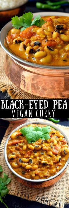 curried vegetarian black-eyed peas recipe is an easy to prepare, lightly-spiced mild coconut curry that's great for people who want a creamy curry without the hot spice usually found in Indian curries. Black-eyed peas are a quick cooking bean which m Vegan Curry, Coconut Curry, Coconut Oil, Indian Curry Vegetarian, Pea Recipes, Indian Food Recipes, Cooking Recipes, Healthy Recipes, Vegan Recipes