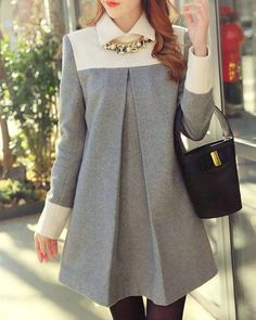 Sweet Turn-Down Neck Long Sleeve Spliced Maternity Dress For Women