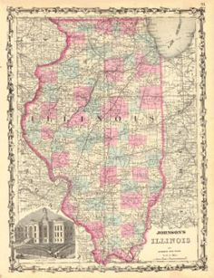 Johnson's Illinois.  Johnson and Ward, Johnson, Alvin Jewett.  1862. Civil War era state map with railroaeds, major roads, many place names. With view of original court house in Chicago. Chicago misspelled in caption. Lightly browned, margin spots.