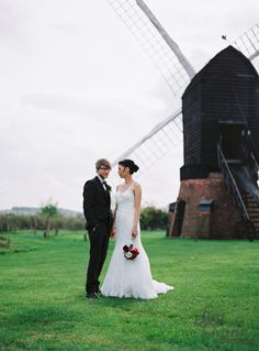 October wedding, couple in front of the Windmill at Avoncroft Museum of Historic Buildings (avoncroft.org.uk). Jay Emme Photography.