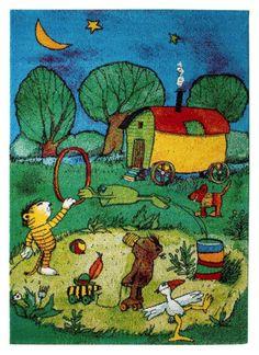 Detailbild von Kinderzimmerteppich Janosch Circus Panama Playing, romping, sleeping - all this has t Panama, Interesting History, Doodle Drawings, Exterior Design, German, Doodles, Kids Rugs, Cartoon, Wallpaper