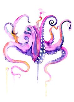 watercolour octopus tattoo - Google Search