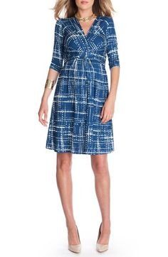 ad84543315f95 Seraphine Graphic Print Maternity Dress available at #Nordstrom Blue Dresses,  Dresses For Work,