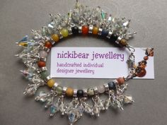VINTAGE Cut Glass Crystal Beads & Indian Agate charm bracelet  by NickibearJewellery, £15.99. Find it on Etsy!