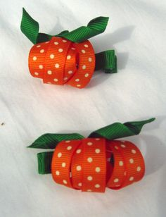 Pumpkin hair bows