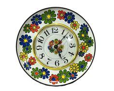 Retro Flower Clock Mod 1970s Decor Flower Power by GizmoandHooHa