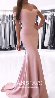 Mermaid Prom Dresses Long, Pink Formal Evening Dresses Elegant Military Ball Dresses Off-the-shoulder, Cheap Pageant Graduation Party Dresses Silk-like Satin Prom Dresses Long Pink, Formal Dresses For Teens, Elegant Dresses For Women, Gala Dresses, Mermaid Prom Dresses, Unique Dresses, Party Dresses, Evening Dresses, The Dress