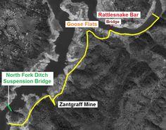 General route of my hike from Rattlesnake Bar, wading across American River, though Goose Flats to Zantgraf mine.