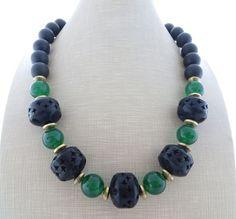Collana con legno, giada verde e onice nero, gioielli estate, bijoux artigianali
