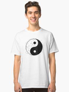 'Handzeichnung von Yin Yang Jin Jang Symbol' Classic T-Shirt von Zdenek Sasek Yin Yang, Jin, Vintage T-shirts, Classic T Shirts, Symbols, Drawing, Illustration, Mens Tops, Fashion