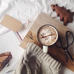 A nice layout of autumnal things,  hot chocolate and a hat is all I need.