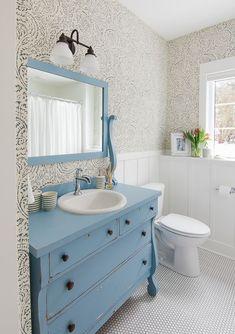blue floral wallpaper blue vintage dresser turned vanity and penny tile White Bathroom Designs, Diy Bathroom, Bathroom Wallpaper, New Bathroom Ideas, Bathroom Styling, Shabby Chic Bathroom, Blue Bathroom, Vintage Dressers, Bathroom Design