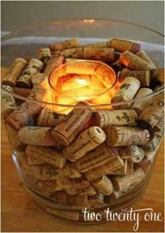 Candle, wine corks, centerpiece
