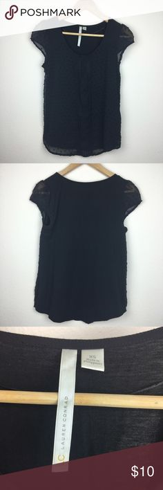 LC Lauren Conrad Cap Sleeve Black Top Size XS Gently Used. Good Condition. No holes or stains. Color: Black. Size XS. Made in the Philippines. Material: Body 60% Cotton 40% Modal. Woven: 100% Polyester. LC Lauren Conrad Tops Tees - Short Sleeve