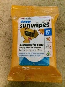 Sunscreen for dogs!  Protect your dog with these easy wipes!  They smell great too.