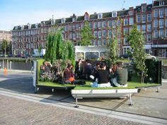 CARAVAN KEVIN VAN BRAAK This project works as an artificial mobile garden, park and camping sight. It is made from an old caravan which can be unfolded displaying a garden. It is built with. Old Caravan, Mobile Garden, Urban Intervention, Contemporary Garden Design, Pocket Park, New Architecture, Earth Design, Boutique Homes, Vacation Home Rentals