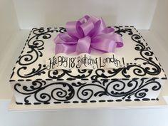 Black viney piping sheet cake