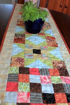 Patchwork Quilted table runner autumn tonings  by StephsQuilts