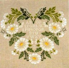 cross stitch daisy heart from the French Needle