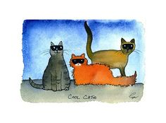 Cat  Art Funny Cat Painting Print Cat by tylersworkshop on Etsy, $3.50 #etsy  These cat are so cool!