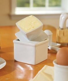 Porcelain Butter Keeper from Fox Run is alot easier and less messy than a traditional butter dish. When closed its a neat lil'box, when needed, its the perfect size for passing around the table. Another Zulily find I am proud to own...