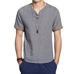 f342824b78 Mens Cotton Linen Chinese Style Retro Solid Color Summer Archaic T Shirt