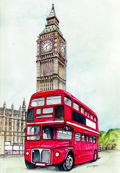 London Painting - London Bus And Big Ben by Morgan Fitzsimons London Bus, London City, London Food, Falaise Etretat, Fabric London, London Drawing, London Illustration, Funny Illustration, London Painting