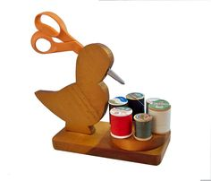 Vintage Wood Duck Sewing Caddy  Scissor & Thread by leapinglemming, $22.95